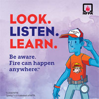 Fire Prevention motto look listen learn