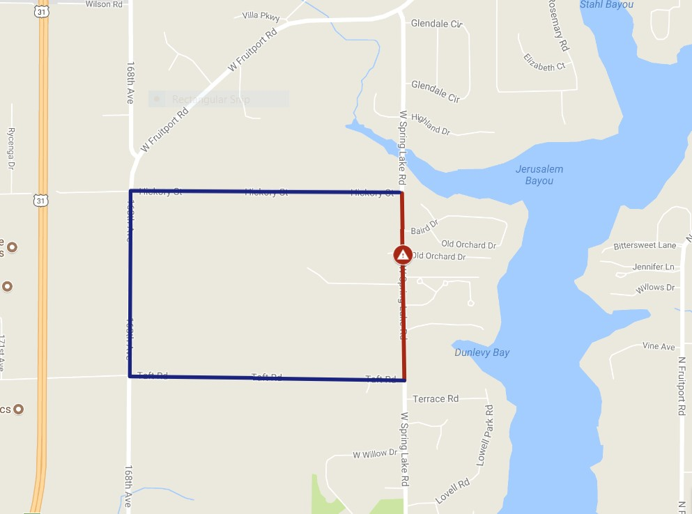 map showing detour route and road closure on W Spring Lake Rd