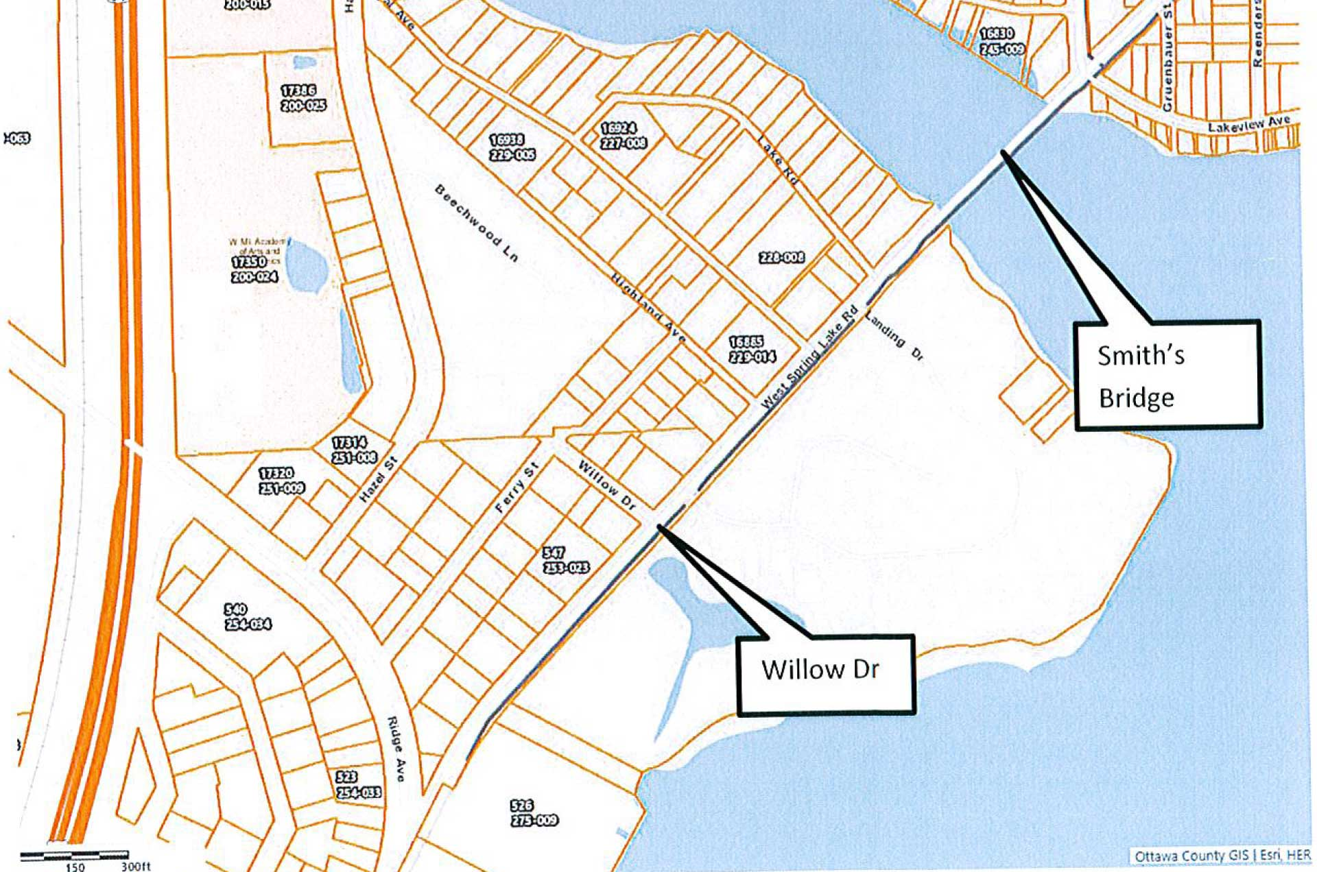 map showing West Spring Lake Rd closed at Willows Dr