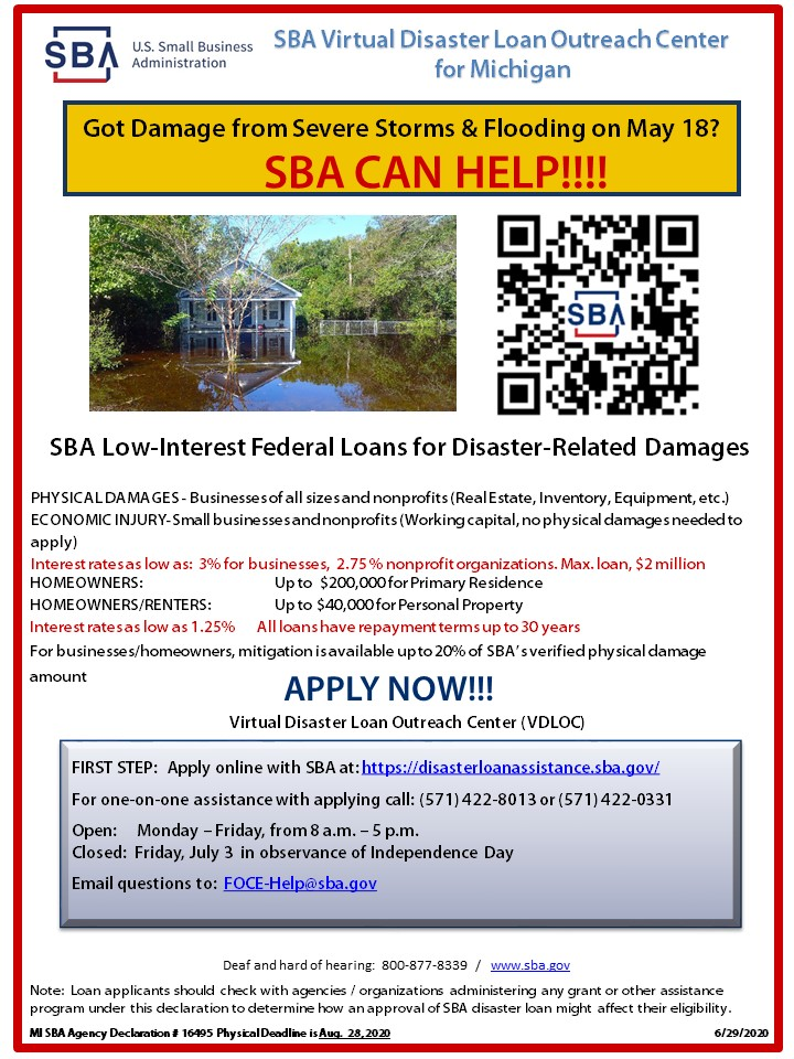 SBA flooding information - application deadline August 28 2020