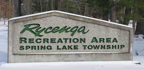Rycenga Park sign in winter